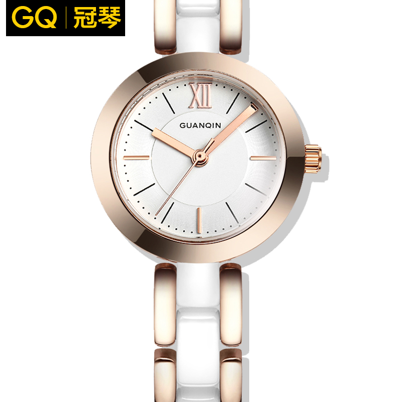 Crown piano watch female fashion trend in europe and america temperament white ceramic watches female korean waterproof quartz watch small dial