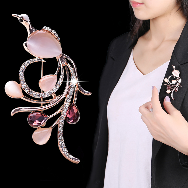 Crystal accessorise files new korean wild female corsage brooch crystal collar pin brooch full of diamond simple and stylish coat