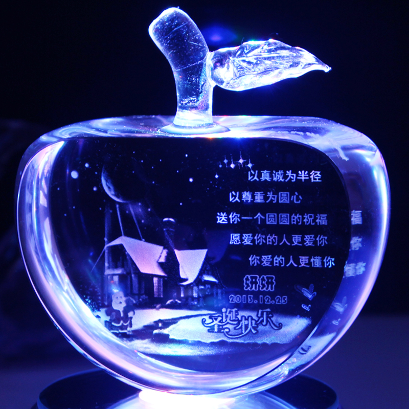 Crystal apple decoration christmas eve wedding gift to send his girlfriend girlfriends creative real use gift peace fruit