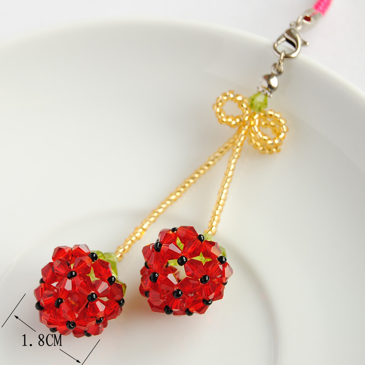 Crystal double strawberry bow phone chain pendant original handmade beaded fashion jewelry accessories diy material package