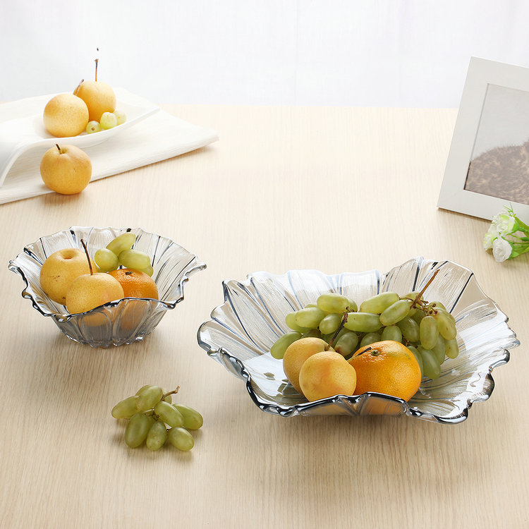 Crystal glass fruit plate fruit dried fruit snack bowl condiment dish restaurant restaurant wine bar habitat home decoration gift