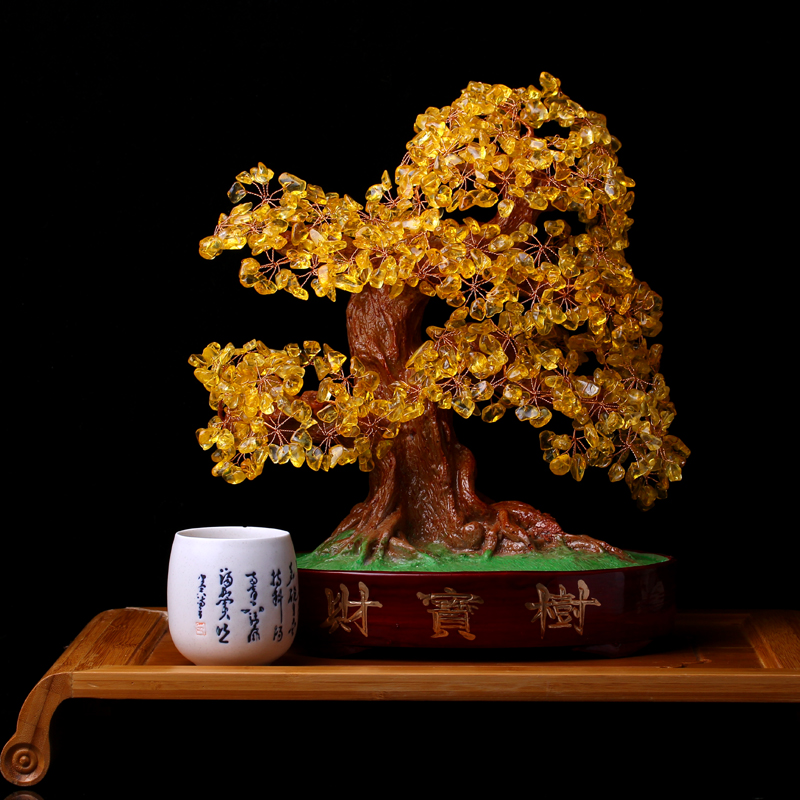 Crystal lucky tree pachira tree ornaments citrine moneymaker tv cabinet ornaments opening gifts