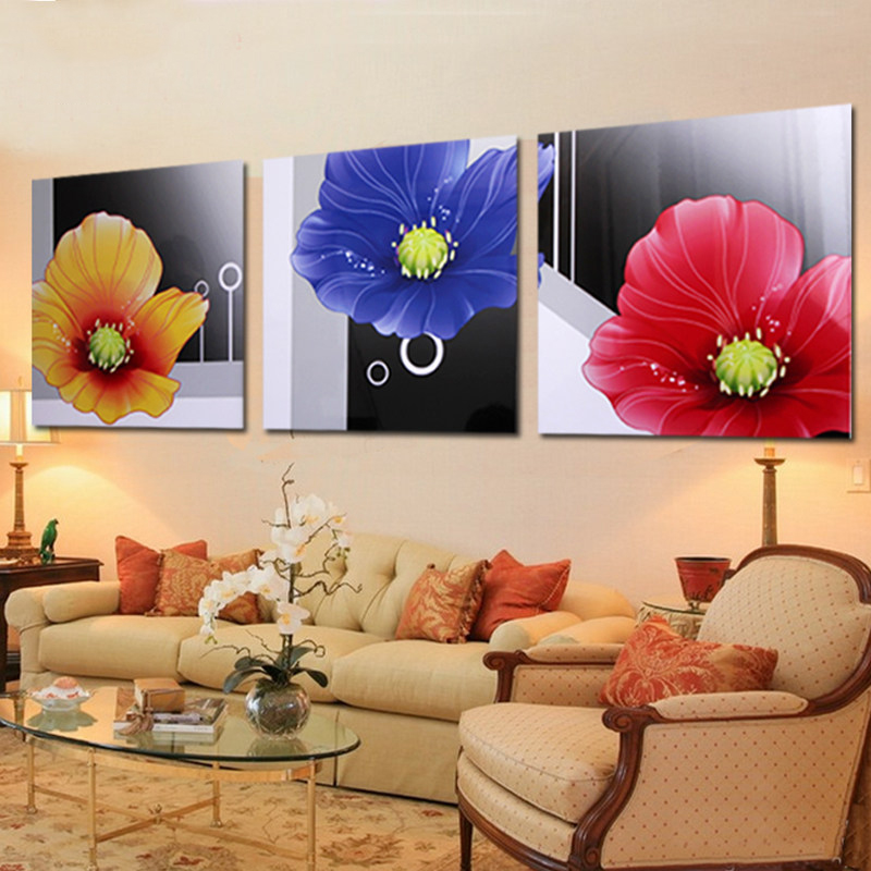 Crystal painting triptych bedroom living room decorative painting flower painting frame painting modern minimalist sofa backdrop mural hanging