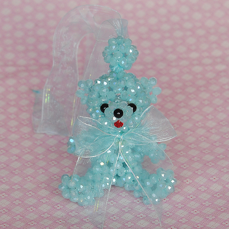 Crystal teddy bear ornaments hanging 6MM bianzhu diy handmade beaded jewelry material package ribbon bow bear