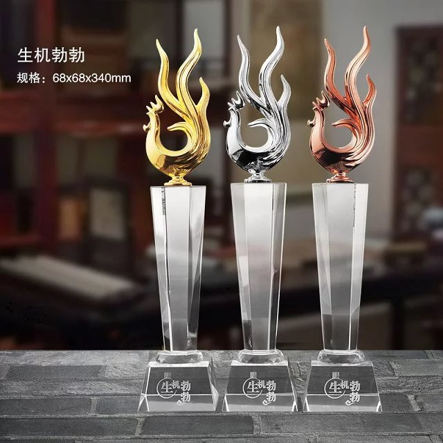 Crystal trophy custom metal trophy trophy trophy creative new year of the rooster rooster annual meeting trophy custom gold and silver copper
