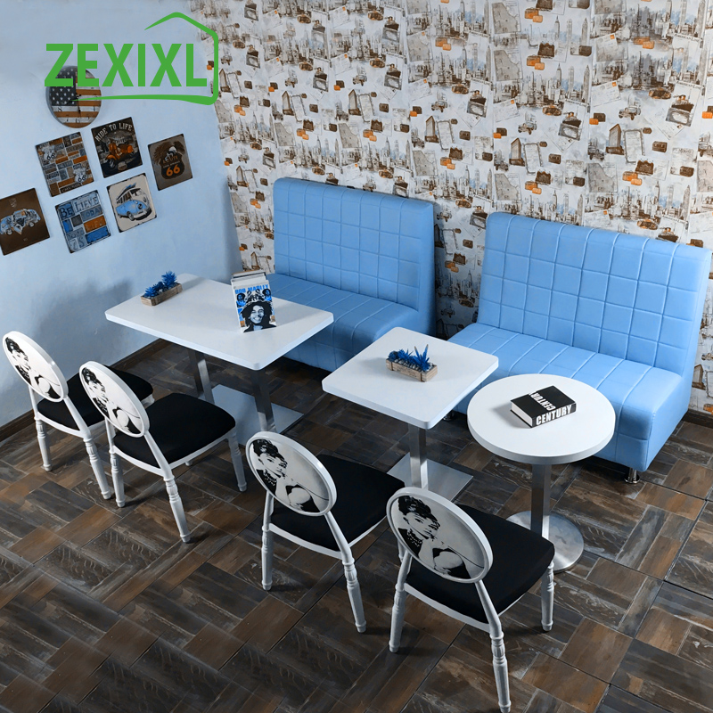 Custom cafe sofa cafe cafe restaurant dessert tables and chairs double leather sofa combination deck