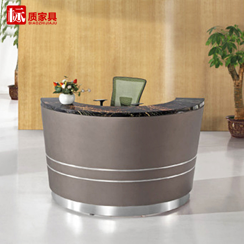 Custom hosted podium welcome desk reception desk to speak taiwan taiwan circular curved front desk bar scagliola
