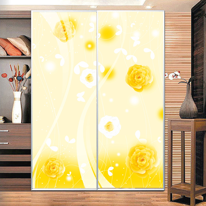 Custom opaque glass door foil/pull door decal/matte film wall stickers transparent film to the glass yellow flowers