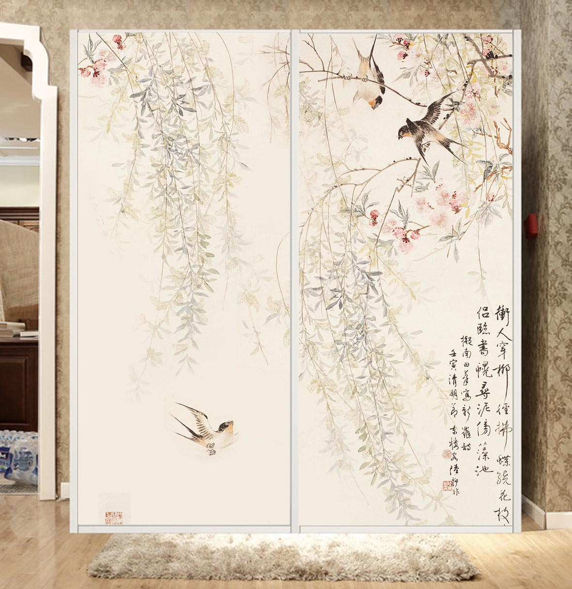Custom opaque glass door foil/pull door decal/matte film wall/transparent film to the glass ink painting─as