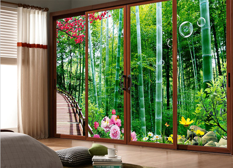 Custom sliding door sliding mirror cover sticker stickers tile stickers affixed to glass closet door stickers natural bamboo