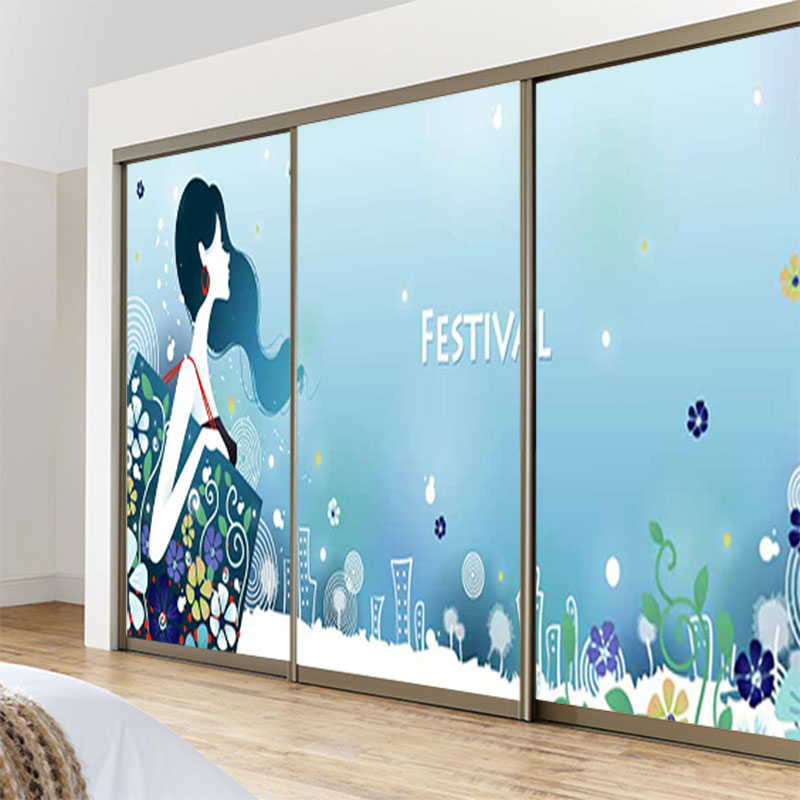 Custom stickers impervious opaque glass sliding door wardrobe stickers affixed bathroom impervious film fashion figure