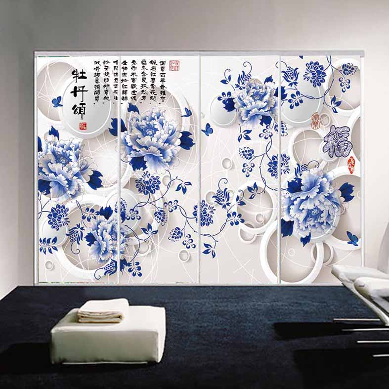 Custom vintage chinese style european film wardrobe sliding door sticker affixed to the glass sliding door stickers refurbished stickers 3d