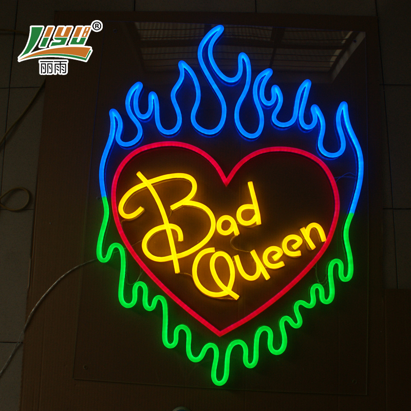 Customized liesl rain led flexible neon signs led light word advertising signs perforation word house of lighting