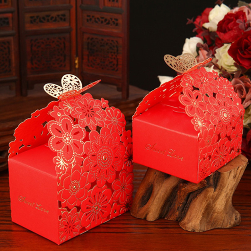 Cut paper candy box creative wedding supplies wedding korean wedding candy box wedding candy box candy bag large trumpet
