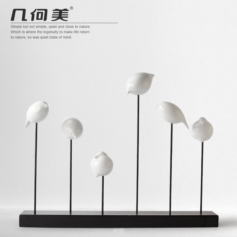 Cute black and white birds creative small ornaments modern minimalist scandinavian artistic personality living room decorations study