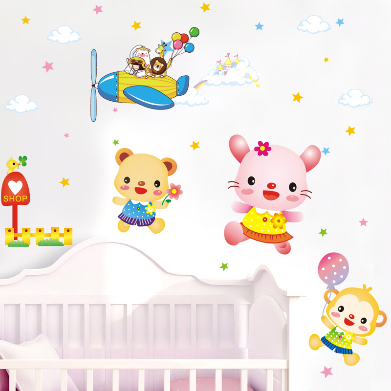 Cute cartoon animal animals baby bedroom children's room environment layout klimts bed head removable wall stickers wall stickers