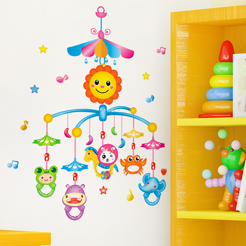 Cute cartoon baby bedroom bedside wall stickers stickers children's room animal chimes wind chimes hanging decorative wall decorations