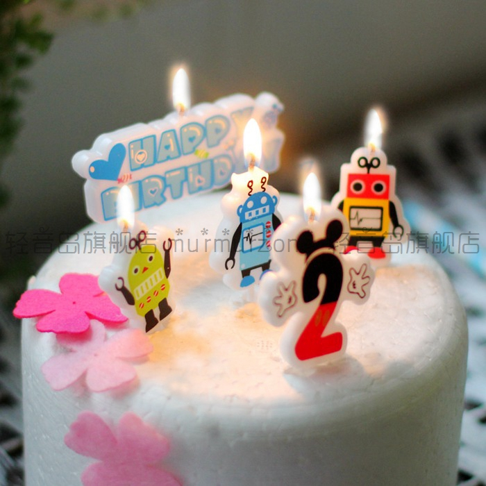 Cute cartoon robot children under the age of creative digital candles happy birthday party cake candle