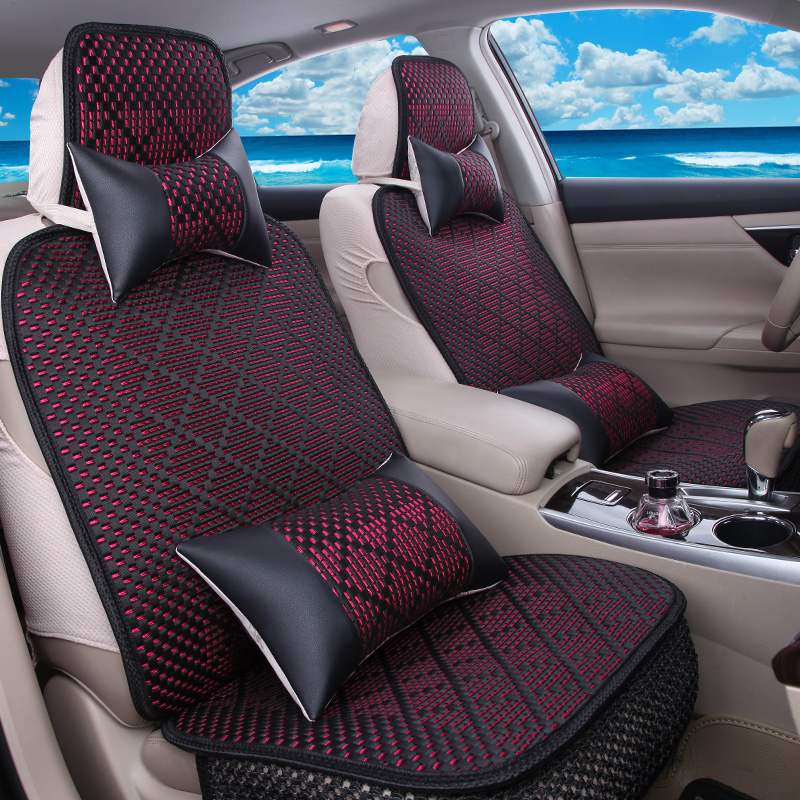 Cute female cartoon car seat cushion four seasons general whole package linen seat cover mat cool summer ice silk knit