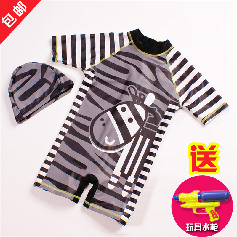 Cute little zebra children surfing sunscreen swimsuit boy baby boy big virgin piece swimsuit with hat