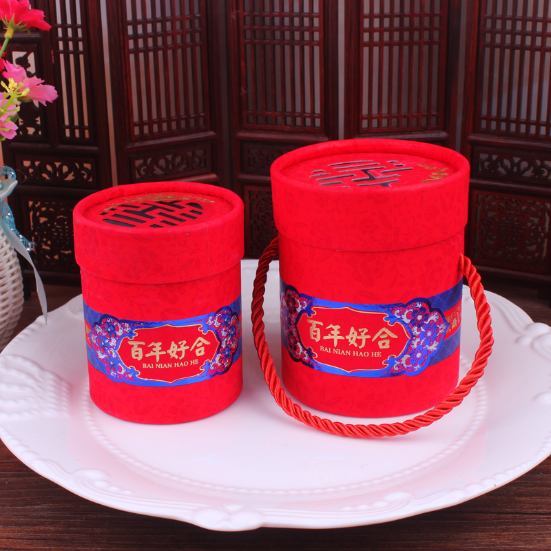 Cylinder candy box wedding bainianhaoge wedding gift chinese red chinese style candy box