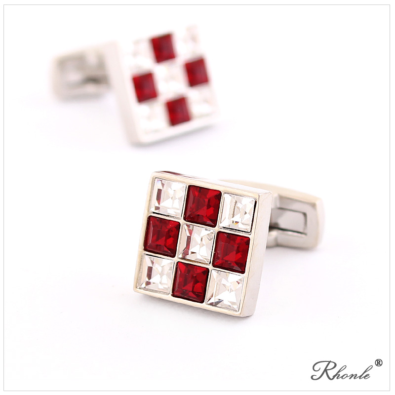 Czech rhinestone diamond luxury dazzling red and white men's cufflinks french shirt sleeve shirt cufflinks gift