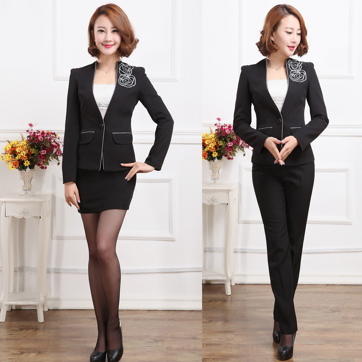 D44 slim autumn and winter wear suits ladies suit ladies wear professional dress suit overalls interview female dress