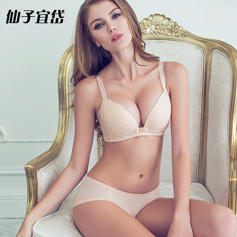 Dai yi fairy bra set underwear without rims gather adjustable bra without steel prop comfortable bamboo fiber lining