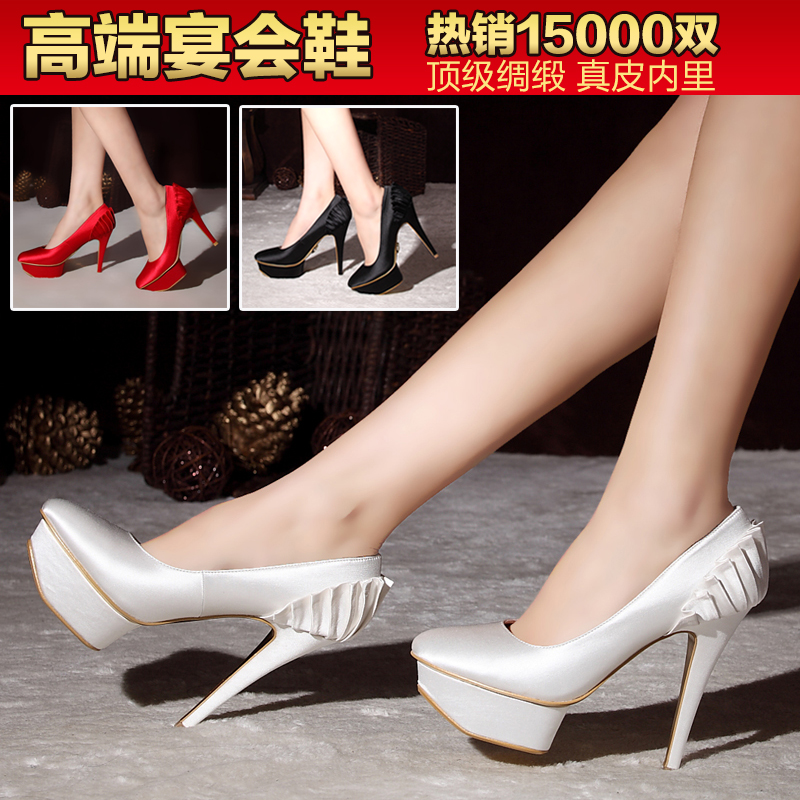Dai zi levay satin wedding shoes red high heels waterproof banquet dress shoes bridal shoes women shoes white