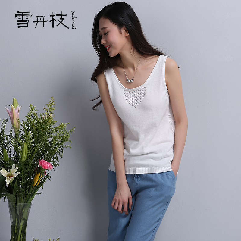 Dan snow sticks 2016 spring and summer literary range of cotton knit camisole was thin female loose big yards openwork knit back heart
