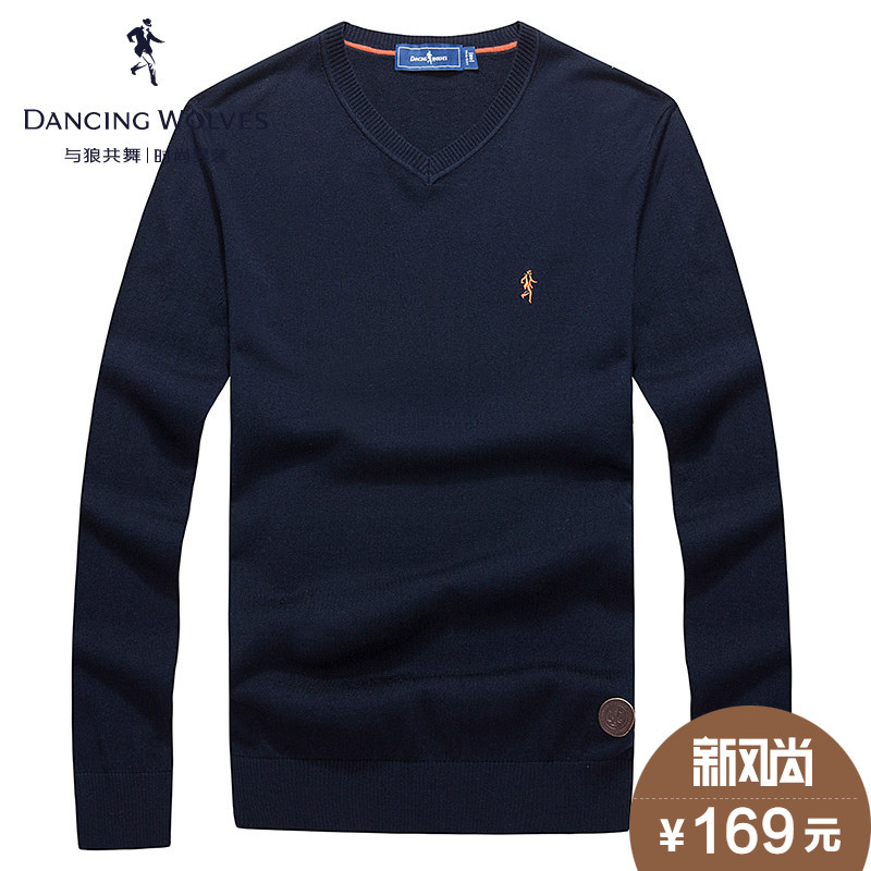 Dances with wolves men's sweater young men casual men's pure wool sweater jixin ling v-neck sweater thin section disabilities