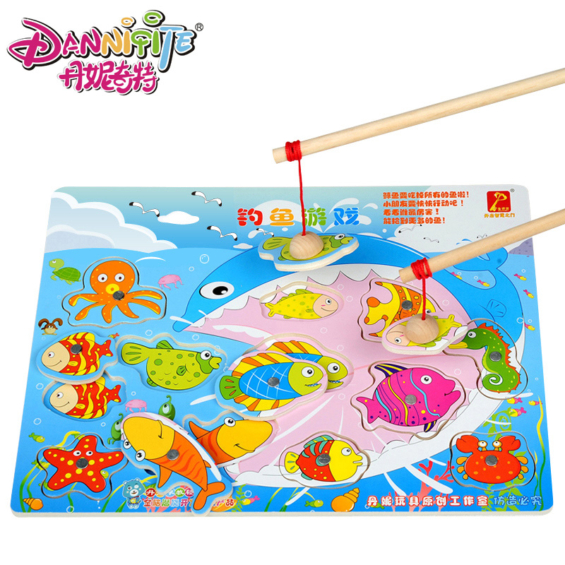 Danielle strange wooden jigsaw puzzle baby toys magnetic fishing cat fishing years old child interaction toy