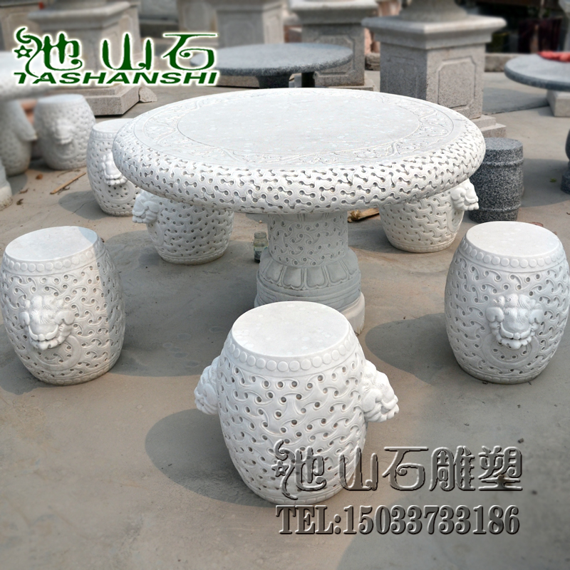 Danzhuoshideng green archaized residential outdoor garden courtyard outdoor natural granite stone table stone carving quyang