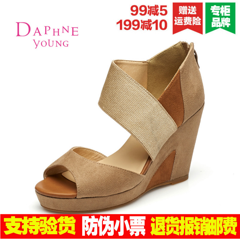 Daphne/daphne 2016 super high heels rome slope with the fish head shoes sandals waterproof ms. european and american style