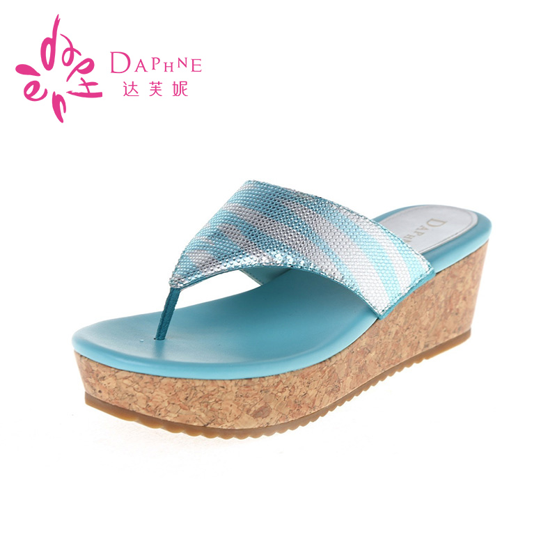 Daphne/daphne genuine new summer shoes rhinestone t type sandals slope with sandals and slippers special clearance