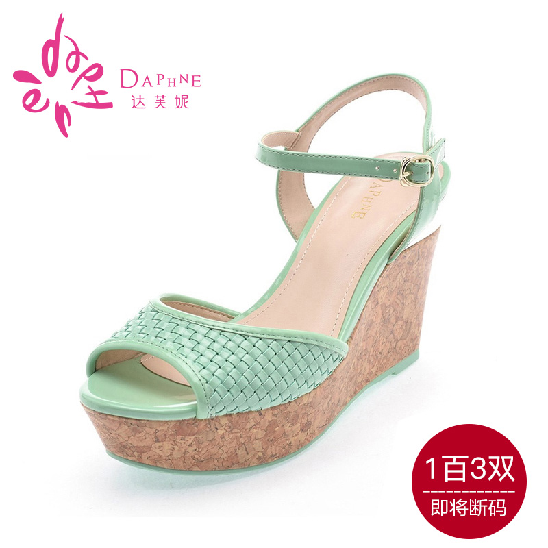 Daphne/daphne genuine special summer new slope with ultra high heel sandals women shoes fish head thick crust