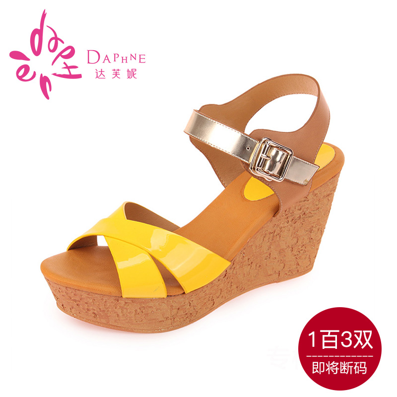Daphne/daphne genuine summer new shoes slope with mixed colors was thin wood graining slope with open toe sandals
