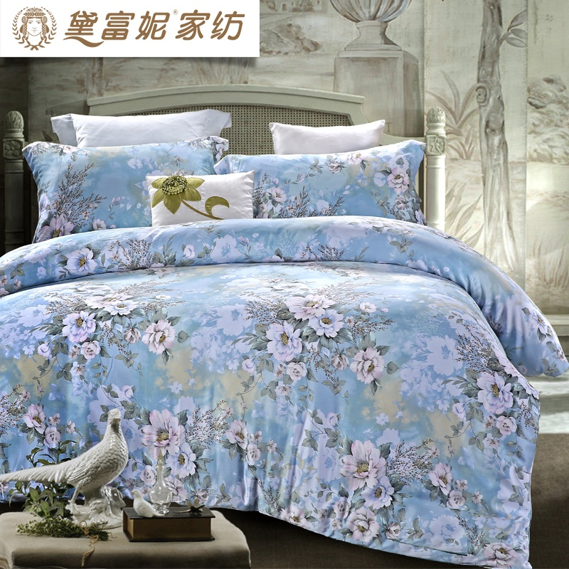 Daphne textile sided tencel lyocell denim linen quilt bedding pastoral style 1.8