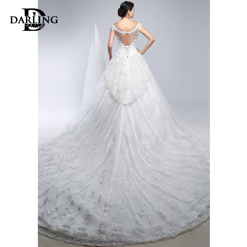 2e35fd4e9e59 Get Quotations · Darling new wedding dress bridal dress fairy diamond word  shoulder straps trailing lace wedding dress was