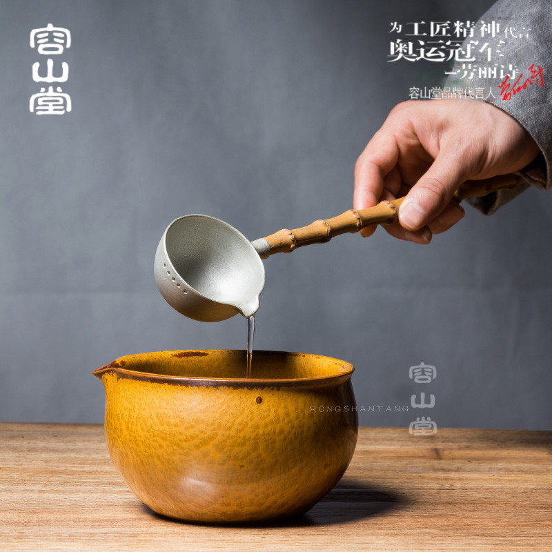 Darongshan hall tea drinking tea points points teaspoon pure stannum bowl bubble tea accessories tea with zero bamboo wash bowl trumpet