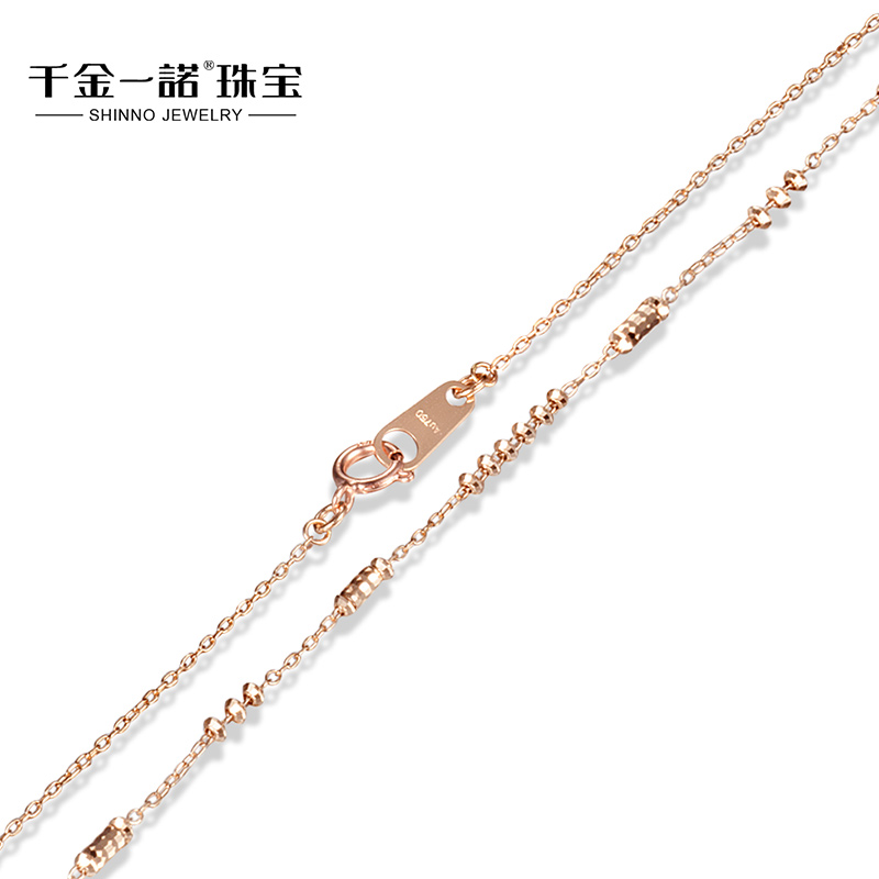 Daughter of a promise k gold rose gold color gold necklace faceted bead transporter female models clavicle necklace
