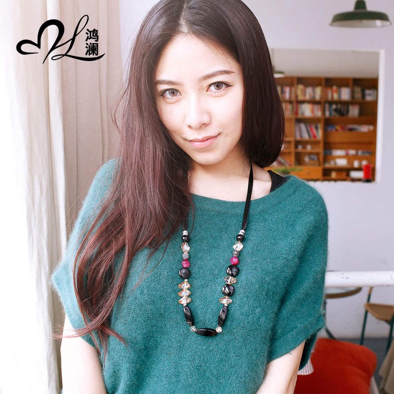 David lan austrian crystal sweater chain long section of female sweater chain natural agate wild valentine's day gift free shipping