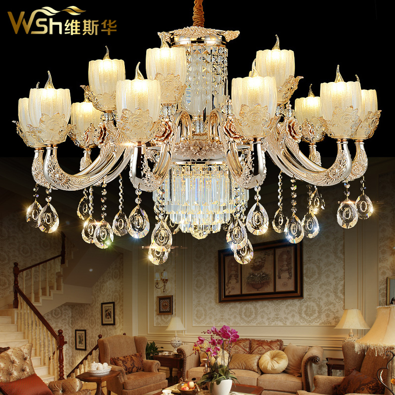 Davis hua led candle chandelier european luxury villa living room lamp crystal lighting ceiling with creative