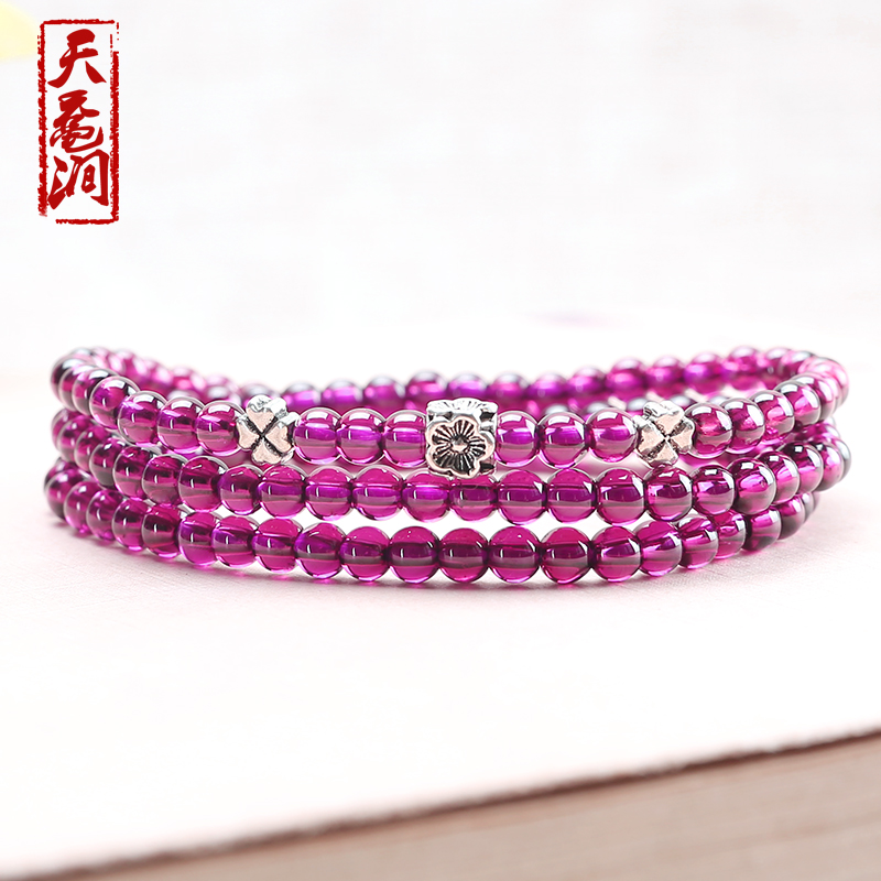 Day sea turtle stream natural crystal purple teeth black garnet silver paragraph 4MM four laps ms. bracelet bracelets collection level