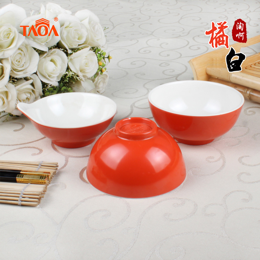 Dazzle up the white color orange porringer small dishes melamine plastic bowl rice bowl soup bowl melamine amine dense Japanese tableware