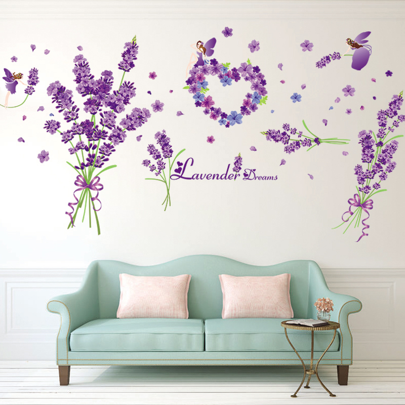 Decalcomania klimts removable wall stickers romantic bedroom sofa background decorative wall painting purple lavender