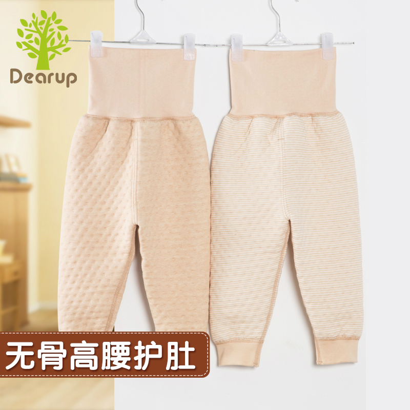 Deere superior products natural colored cotton baby care belly warm waist pants boneless baby cotton pajamas cotton flax