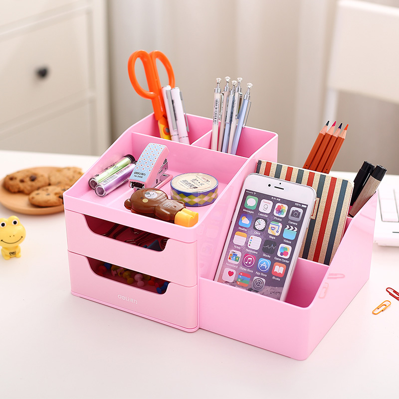 Get Ations Deli 8900 Desktop Pen Holder Insert Pencil Case Stationery Small Objects Storage Cabinet Drawers Whole