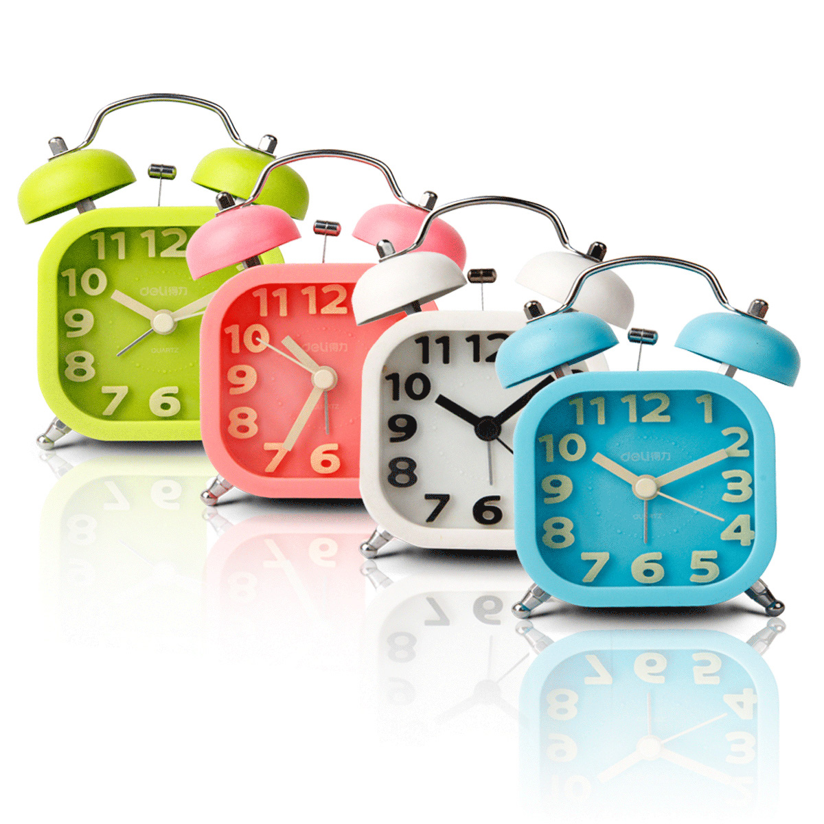 Deli 9035 fashion creative personality bedroom bedside alarm clock mute children luminous student small alarm clock