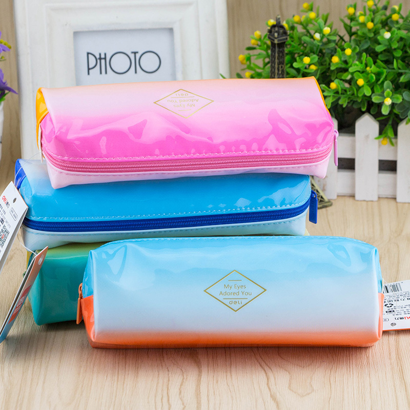 Deli pencil gradient korean version of the simple pencil case cute candy colored pencil pencil stationery bag storage bag korean boys and girls